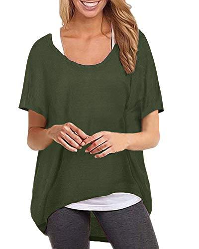 ZANZEA Maglietta Donna Manica Corta Taglie Forti Irregolare T Shirt Sciolto Tunica Casual Top Manica Pipistrello Collo Tondo Verde Militare 3XL