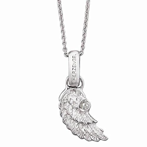 Herzengel Kette mit Flügelchen Anhänger für Mädchen 925er-Sterlingsilber rhodiniert besetzt mit weißem Zirkonia Länge 37 cm plus 2 cm