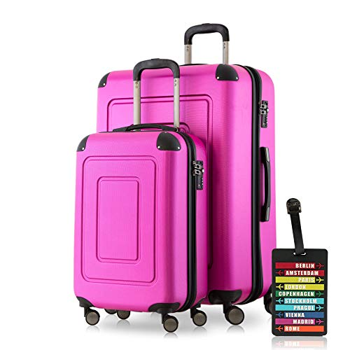 Happy Trolley Lugano Koffer-Set, 76 cm, 113 Liter, Magenta