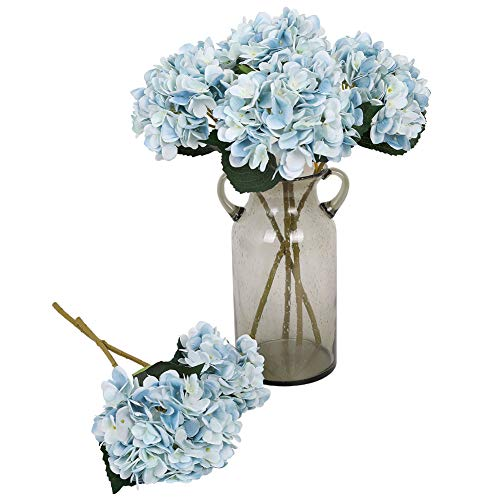 Kisflower 6Pcs Silk Hydrangea Artificial Flowers Realistic Hydrangea Flowers Bouquet for Wedding Party Office Home Decor (Blue)