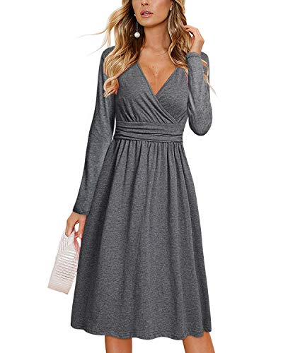 OUGES Womens Long Sleeve V-Neck Wrap Waist Party Dress with Pockets