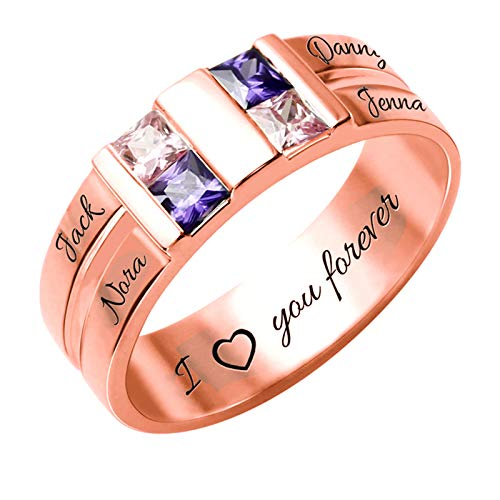 Custom Silver Mothers Rings with 4 Simulated Birthstones 4 Names Personalized Family Mom Jewelry Engraved Promise Rings for Women(10)
