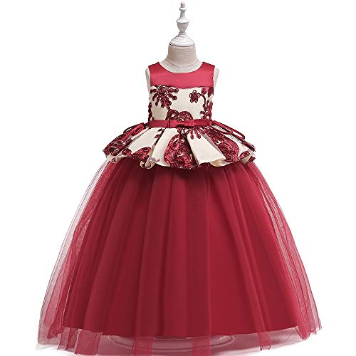 Vestido de Nios Vestido de los trajes nias faldas del bordado de la red del hilado nia de las flores princesa falda de los nios del vestido de noche for nios para el Baile de Graduacin