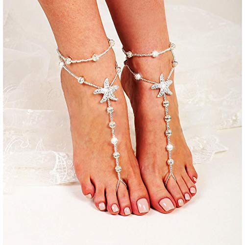 Artmiss Bridal Starfish Barefoot Sandals Women Beaded Layered Bracelets Anklet Rhinestones Foot Chain Jewelry for Girls 2PCS