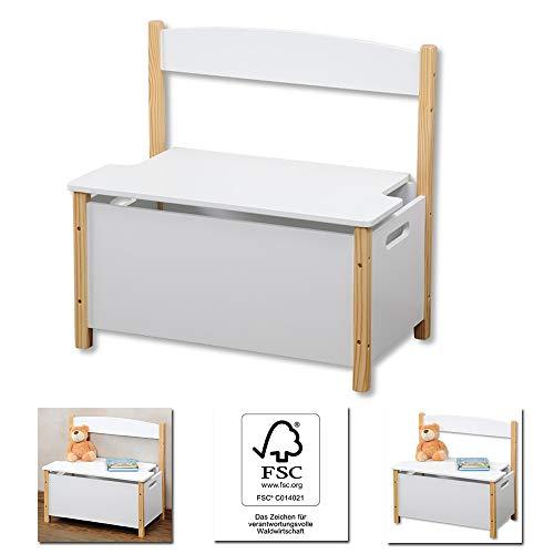 Kinder Sitztruhe FSC Zertifiziert weiß, Sitzbank 60cm Aufbewahrungstruhe mit Klappdeckel und Deckelbremse, Truhenbank Spielzeugtruhe Staufach Bank