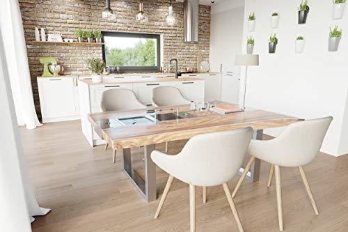 Mesa de barbacoa de diseño para interior y exterior con 4 inserciones de madera de roble.