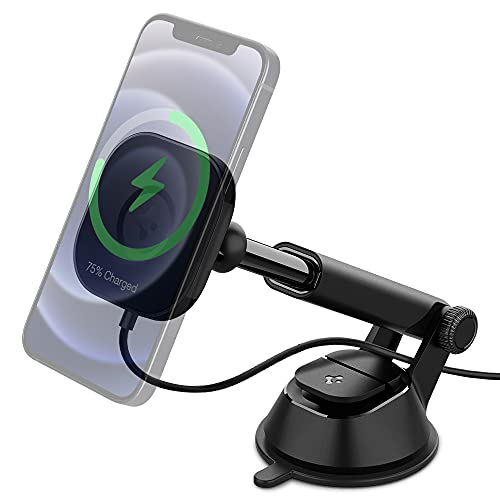 Spigen OneTap Pro Designed for Magsafe Wireless Car Charger Mount Compatible with iPhone 12, 12 Pro, 12 Pro Max, 12 Mini (Magnetically Levitate & Charge iPhone 12 Models Even The Max Model)