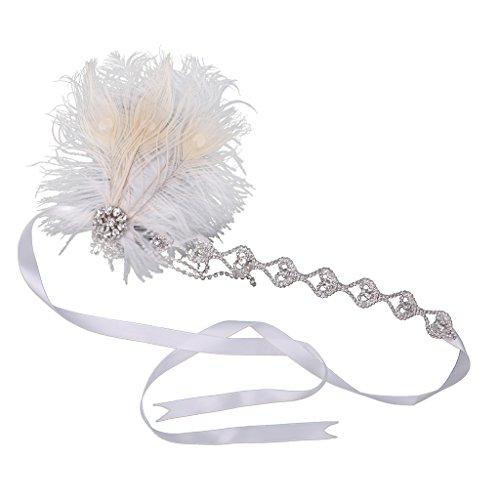 Baoblaze Girls Crystal Appliques Bandeau Plume Flapper Headpiece Bijoux Cheveux Robe