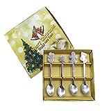 Kylewo 4 Pezzi/Set Set di cucchiai di Natale, Decorazioni Natalizie Cucchiaino di caffè di Natale in Acciaio Inossidabile, cucchiaino di cucchiaino di Ghiaccio
