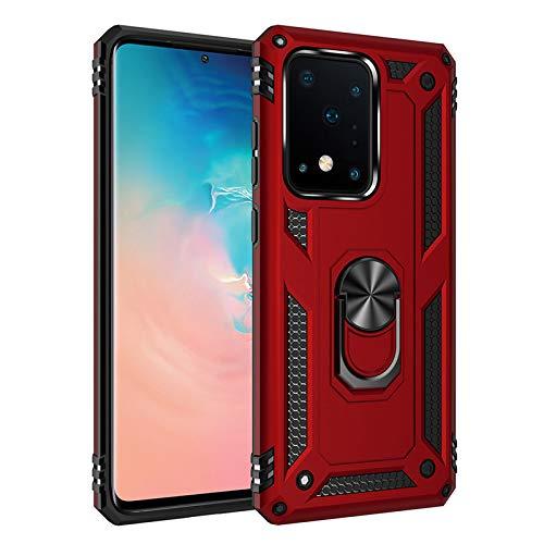 Funda Samsung Galaxy S21 Ultra 5G Armor Carcasa con 360 Anillo iman Soporte Hard PC y Silicona TPU Bumper antigolpes Fundas Carcasas Case para movil (Rojo)