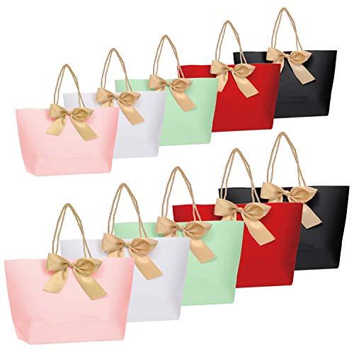 10pcs Geschenktüten - Geschenkbeutel aus Papier mit Bogen Band, Elegant papiertüten für Geburtstag, Hochzeit, Abschluss-Feier, DIY geschenktüten
