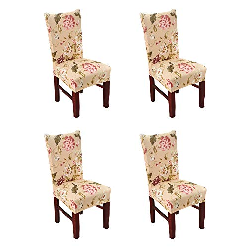 Argstar 4 Pack Chair Covers, Stretch Armless Chair Slipcover for Dining Room Seat Cushion, Spandex Kitchen Parson Chair Protector Cover, Removable & Washable, Camel Spring Flower Design
