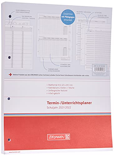 BRUNNEN 1075700002 Wochen-Ersatzkalendarium für Lehrerkalender/Termin- & Unterrichtsplaner 2021/2022, 2 Seiten = 1...
