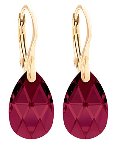 Women's 16mm Ruby Crystals From Swarovski Pear Earrings. Genuine Vermeil: 24k Gold Over Sterling Silver. Stamped 925. 3GR Total Weight.