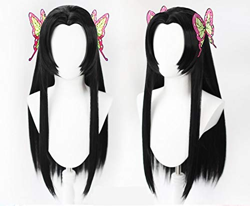Blade of Demon Slayer Kochou Kanae Cosplay peluca Kimetsu no Yaiba largo negro recto punta débil pelucas de pelo sintético