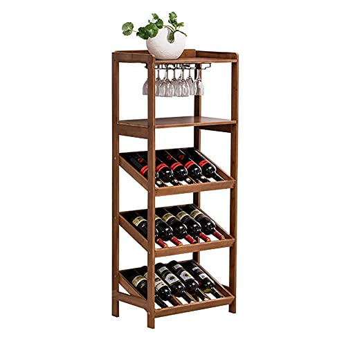 Estante para Vinos Piso Independiente con Puerta Y Cajón Estantes para Almacenamiento De Vino Estantes para Vino De Bambú Soporte para Vidrio Estante para Botellas De Vino para El Hogar,B