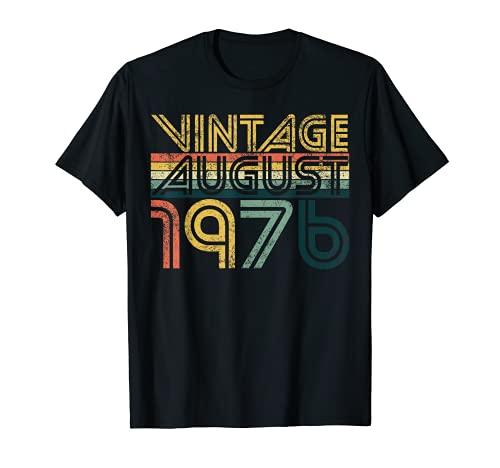 Clásico 44 cumpleaños regalos 44 años vintage agosto 1976 Camiseta
