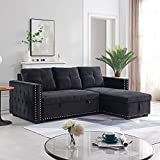 91' Sectional Futon Sofa Couch Bed with Reversible Storage Chaise, L-Shape Full Size Pulled Out Sleeper Sofa Bed, Modern Corner Couch with for Living Room, 3 Seats Sofas and Couches (Black, 91')