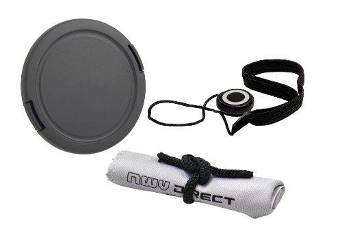 Pinch lateral da tampa da lente (67 mm) + suporte da tampa da lente + pano de limpeza de microfibra Nw Direct para Nikon COOLPIX P900
