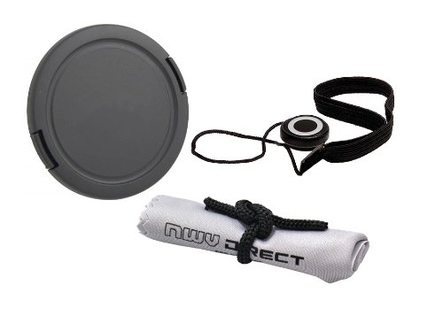 Lens Cap Side Pinch (77mm) + Lens Cap Holder + Nw Direct Microfiber Cleaning Cloth for Nikon COOLPIX P1000