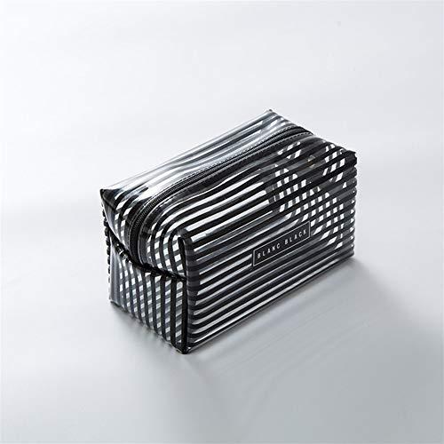 Grande Capacité 1 PCS Maquillage transparent étanche Portable Sac mode rayé Zipper Organisateur cosmétiques Femmes Voyage Sac de toilette (Color : Black, Size : Size S)