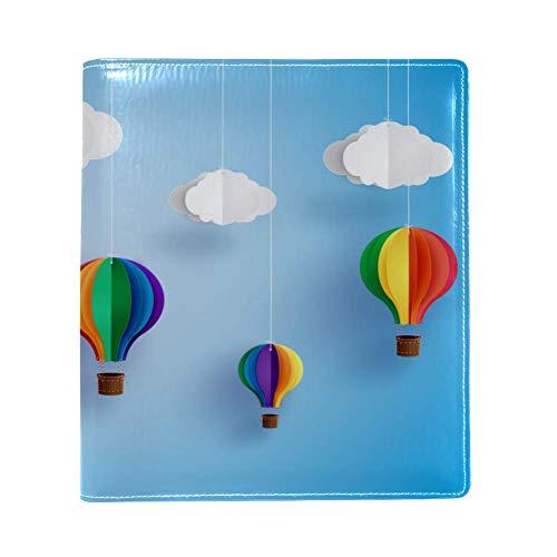 """EZIOLY Origami Made colorido globo de aire caliente elástico funda para libro se adapta a la mayoría de libros de texto de hasta 8.7"""" x 6.3"""" sin adhesivo, protector de libros escolares lavado y reutilizable."""