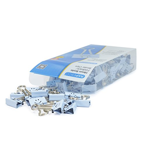 Rapesco Accesorios - Caja de 80 pinzas / clips de 19mm, hasta 75 hojas con sonrisas azules