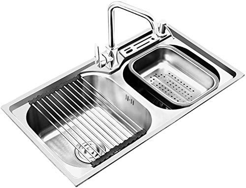 RKRZLB Fregadero de Cocina Inicio Acero Inoxidable Cocina Fregadero Doble Ranura Anti-desbordamiento,Silver-75 * 40cm