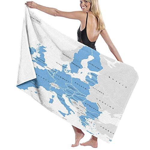 Toallas de baño,Los países de la Unión Europea en inglés etiquetado Mapa político con fronteras,Manta Suave de Las Toallas de Playa de la Microfibra para el Viaje de la Piscina del baño