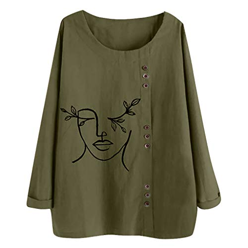 VEMOW Camiseta De Las Mujeres T-Shirt Casual Cuello Redondo Botón Flojo Talla Extra Gato Impresión Mangas largas BohoTánico Camisa Blusa Tops TúNica(A Ejercito Verde,2XL)