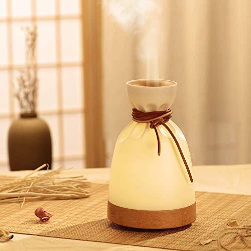 AJH Houten tafellamp met aromatherapie, Diffuser met meerdere lagen, Luchtbevochtiger Verdamper Kleine tas Parfum Creatieve omgeving Nachtlampje voor thuis
