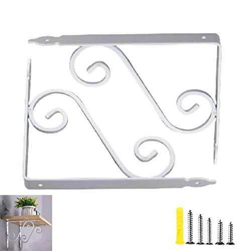2pcs Rustic Decorative Shelf Bracket,Wall Mounted Metal Shelf Brackets,Classic Curly Shelf Brackets,Retro Style Brace Shelf Support Wall Hanging,for Kitchen Office,with Screws(white11*14cm/4.3*5.5in)