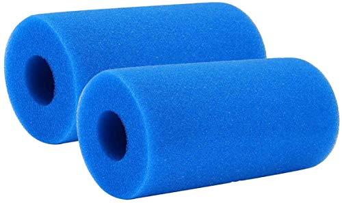 Poweka - Filtro de esponja tipo A para filtro de espuma Intex de repuesto reutilizable lavable para jacuzzi, 2 unidades, color azul