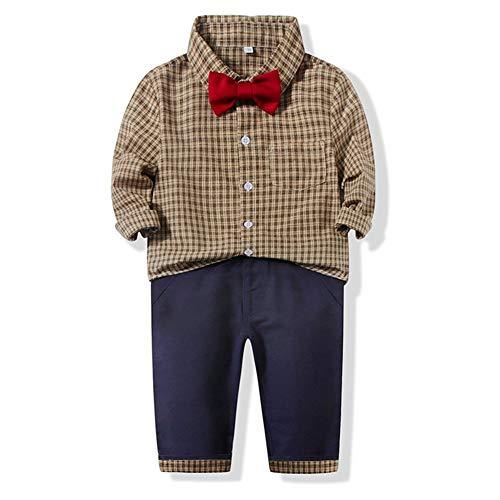 PUJIANGxian Boy geruit hemd casual broekpak stijl