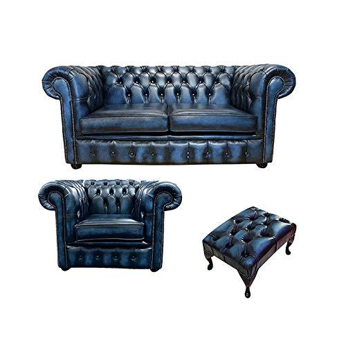 JVmoebel Chesterfield Sofa Couch Polster Leder Sofagarnitur 2+1 Polster Set Zweisitzer