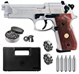 Beretta M92FS Air Gun with 5x12 CO2 Tanks and Pack of 500ct Lead Pellets Bundle (Nickel/Wood+Accessories)