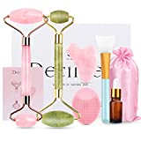 Deciniee Jade Roller for Face,Gua Sha Massage Tool,Rose Quartz Jade Roller and Gua Sha 6 in 1 Face Massager Women Gift Set,Anti-Aging Authentic Facial Beauty Roller-Rejuvenate Skin and Remove Wrinkles