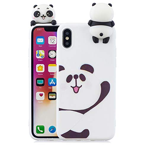 EuCase Coque iPhone XS Silicone Blanc Housse Etui iPhone X Antichoc Mignon 3D Cartoon Dessin Animaux Ultra Mince Fine Souple TPU Case Protection Bumper Case Cover Ours Blanc