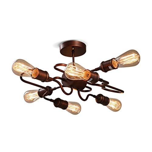 Vintage E27 plafondlamp Industrial 6 branders woonkamer plafondlamp roest voor restaurant cafe plafondlampen energie-efficiëntieklasse A+