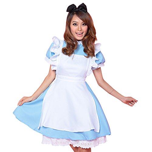 LSERVER-Nuova Alice nel Paese delle Meraviglie anime cameriera costume lolita vestiti vestito da cameriera Blu