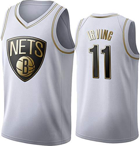 WSUN Ropa De Baloncesto para Hombres NBA Brooklyn Nets # 11 Kyrie Irving Baloncesto Jersey Vintage Cool Tejido Transpirable All-Star Unisex Fan Uniform,Blanco,L