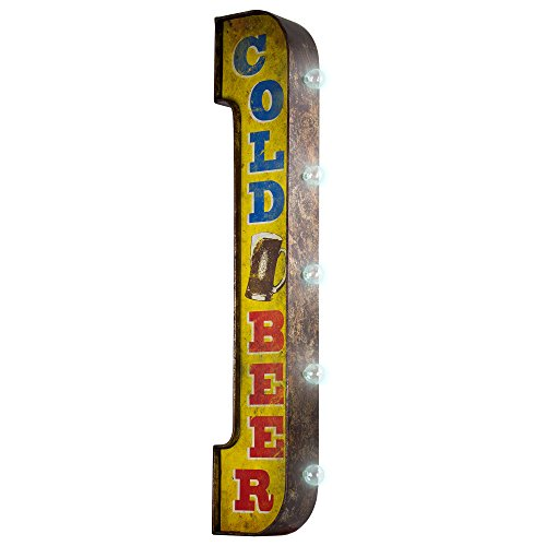 American Art Decor Vintage Cold Beer LED Marquee Sign Wall Decor for Bar, Game Room, Bar, Garage, Man Cave – Battery Operated (40