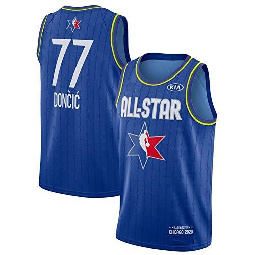 Herren Basketball Trikot,NBA Dallas Mavericks #77 Luka Doncic Jersey,Stickerei Atmungsaktiv und Verschleißfest,T-Shirt für Fan,All Star Blue 77#,XXL