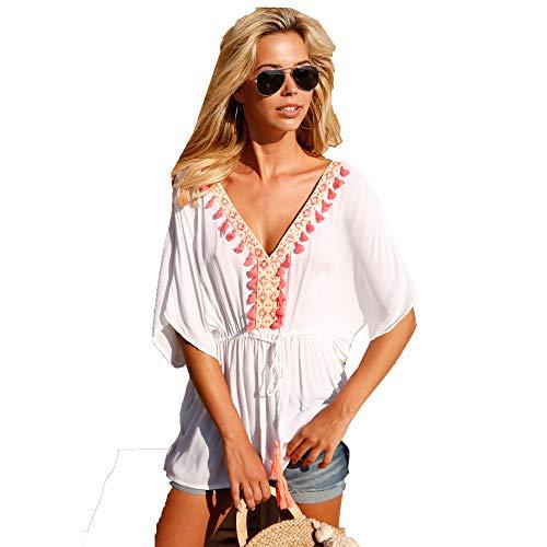 VENCA Blusa Corte Cuadrado con Encaje y borlas en el Escote Mujer by VencaSt - 022705