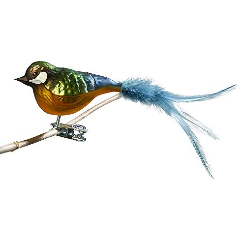 Thüringer Weihnacht 52-016 Glas-Vogel, Kohlmeise mit Naturfedern