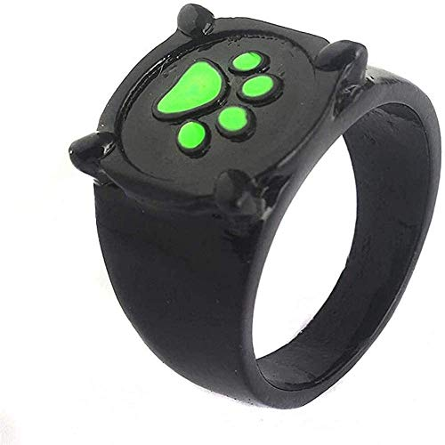 Miraculous Cat Noir Ring for Kids Adults Cosplay, Ladybug Ring Anime Cosplay Finger Ring, Green Paw Print Ring Fashion Black Alloy Rings