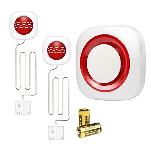 GSM Drahtlos Wassermelder Wassersensor Wasser Alarm Sirene Kabellos mit Batterien (1x empänger+2X Wasserimmersionsdetektor)