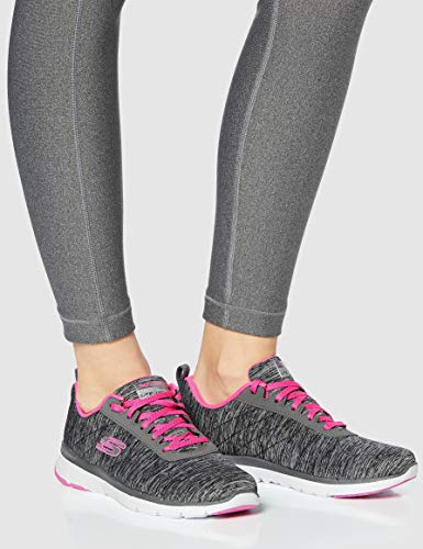 Skechers Flex Appeal 3.0-Insiders, Zapatillas Mujer, Gris (BKHP Black & Gray Mesh/Black Trim), 39 EU