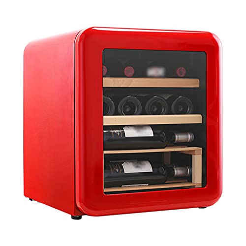 SHENXINCI Termostato Enfriador de Vino Retro Vinoteca 12 Botellas, 42 litros de Capacidad, Temperatura Regulable 4°C-22°C, Panel táctl, Display Digital, 75 W [Clase de eficiencia energética C]