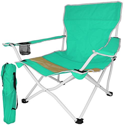 TW24 Klappstuhl Beach mit Farbwahl Gartenstuhl klappbar Campingstuhl mit Armlehnen Getränkehalter Stuhl Strandstuhl Anglerstuhl (Grün)